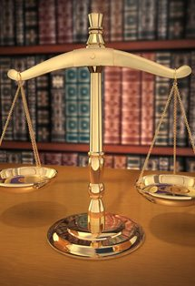 Scales of justice in a California Tax Lawyer office.